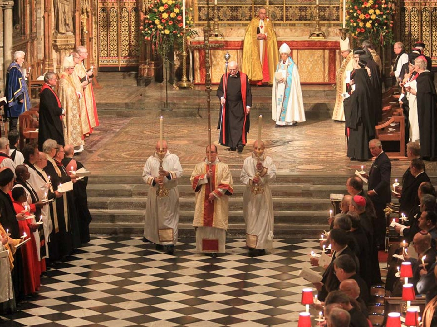 The procession moves through the church at the end of the service