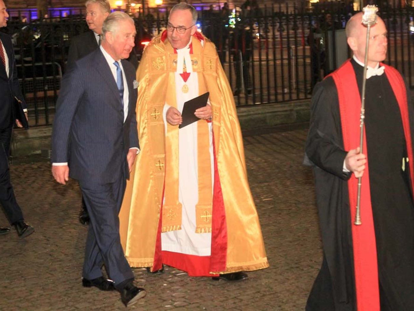 The Prince of Wales arrives at the service