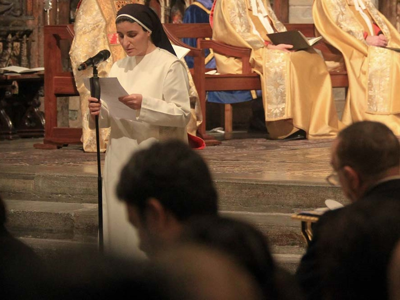 Sister Nazek Matty, Dominican Sisters of St Catherine of Sienna, Iraq, reads a Testimony
