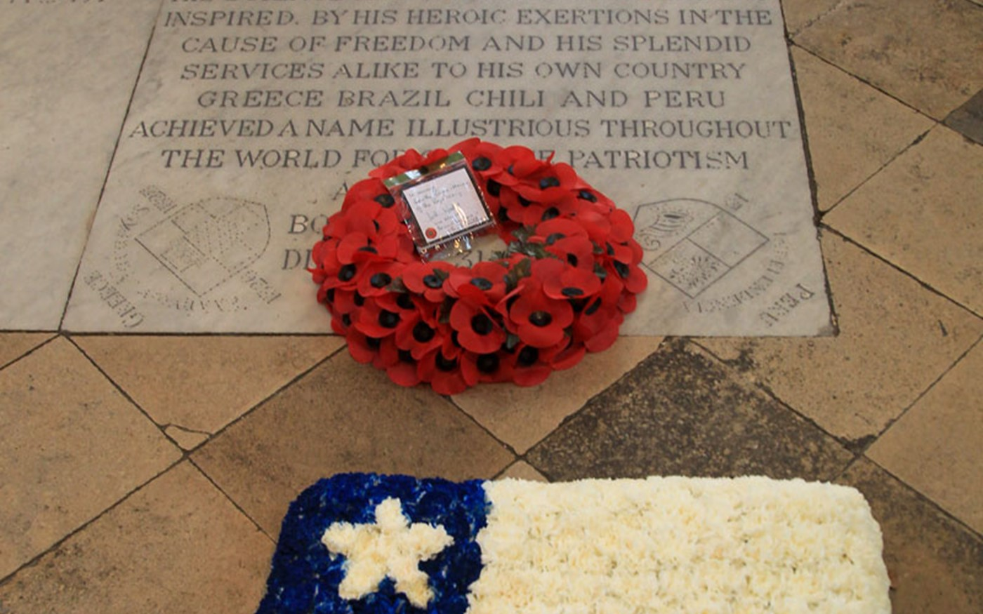 The wreaths laid on the grave of Admiral Lord Cochrane, 10th Earl of Dundonald