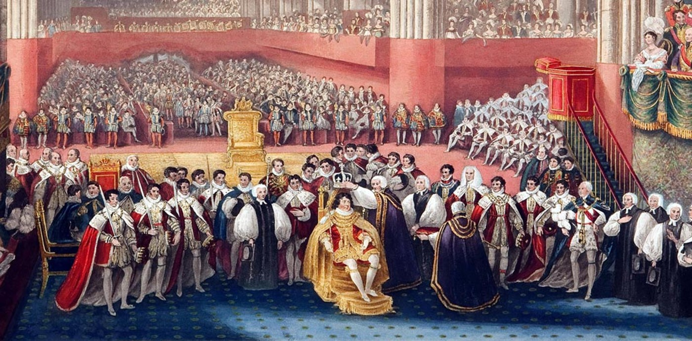 George IV coronation 1821 - crowning, closer view (Nayler book) 300 Westminster Abbey copyright photo.jpg