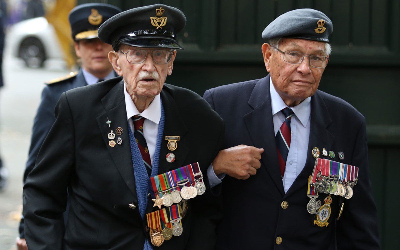 Royal Air Force Veterans arrive for the service