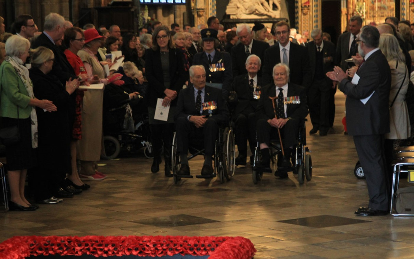 Battle of Britain veterans were applauded by the congregation after the service