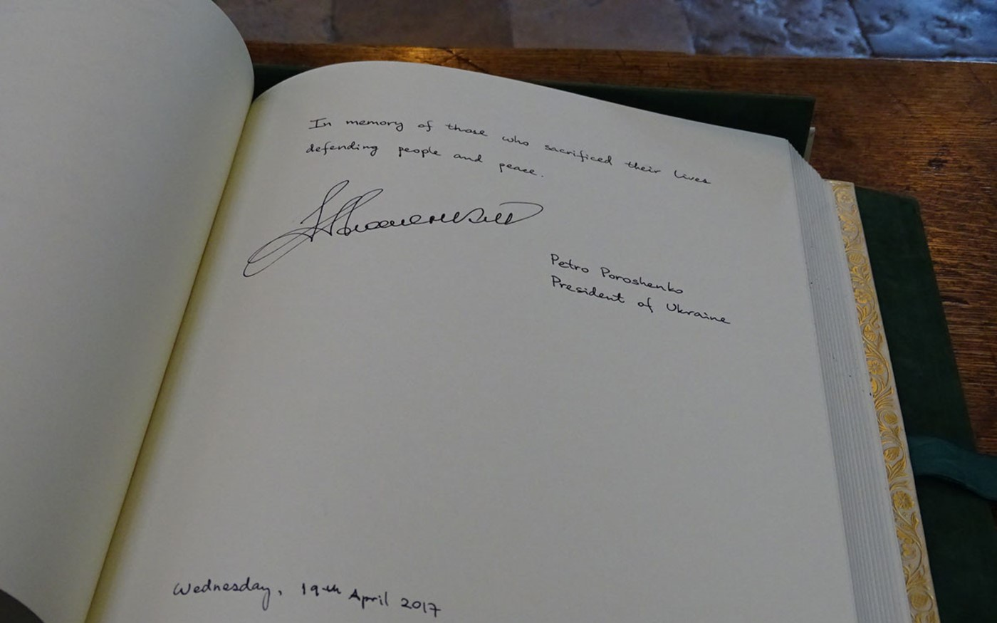 The signature of The President of Ukraine, His Excellency Petro Poroshenko, in Westminster Abbey's Distinguished Visitors' Book