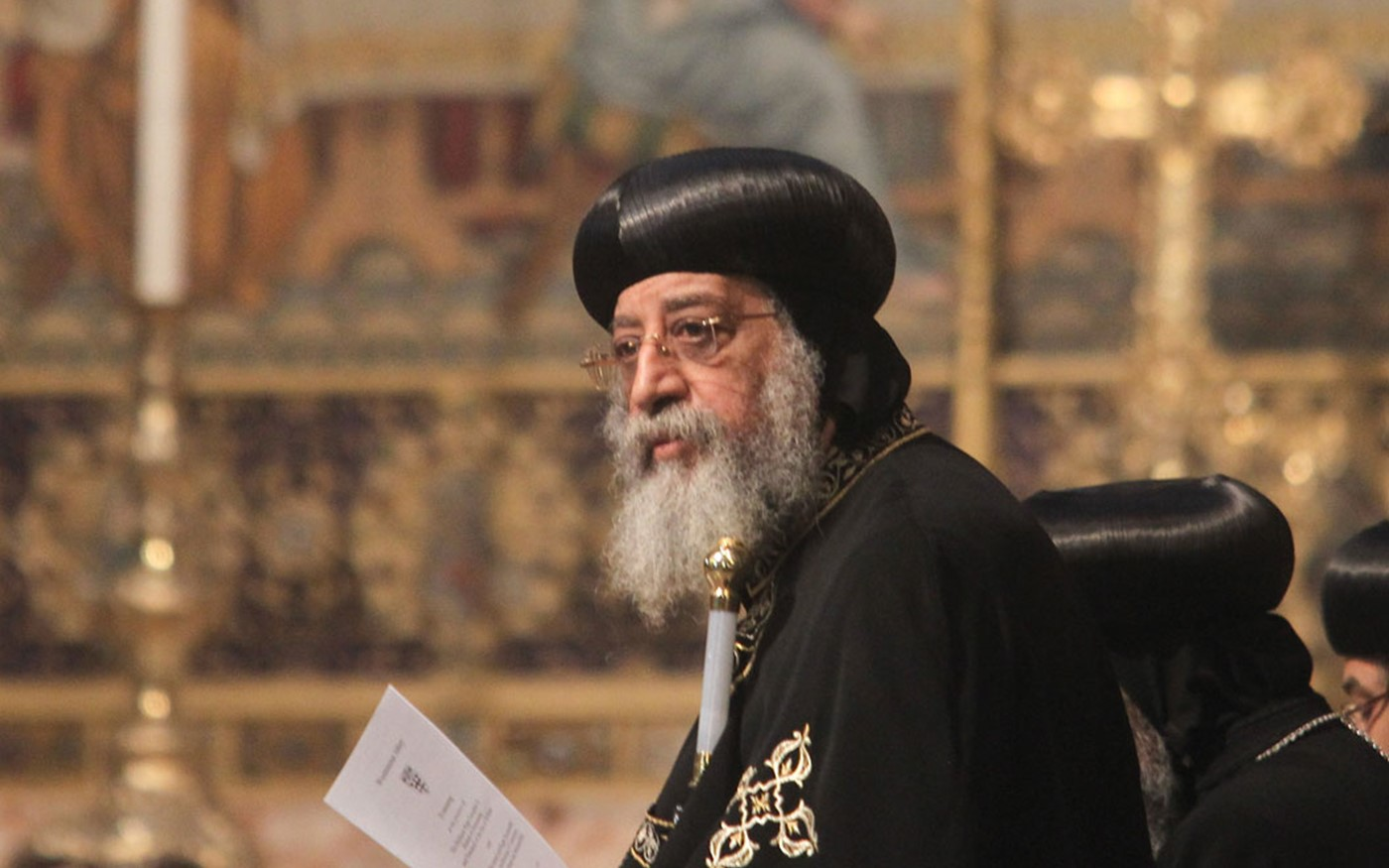 His Holiness Pope Tawadros II, Bishop of Alexandria and Patriarch of the See of St Mark, during the service