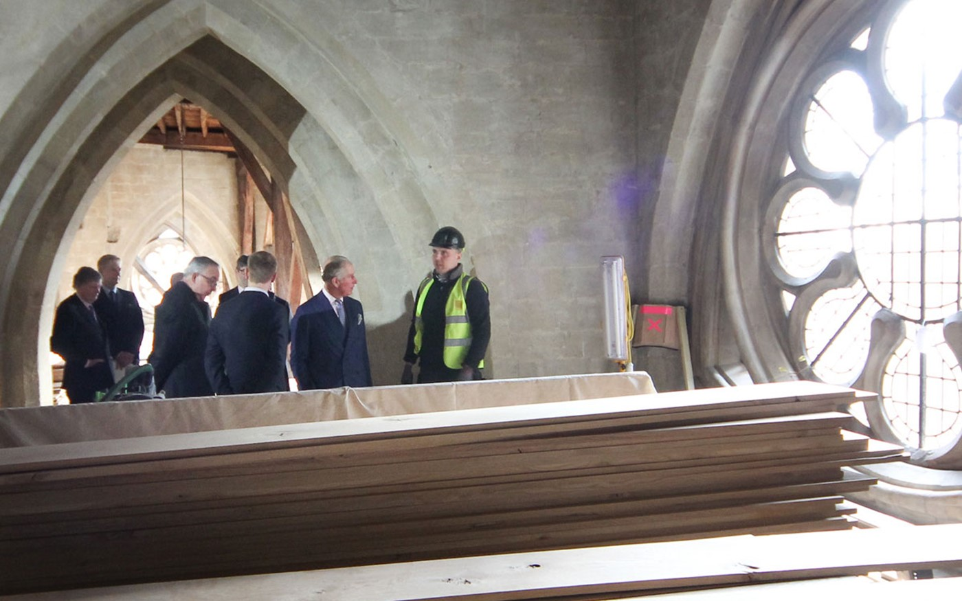 HRH The Prince of Wales meets an apprentice craftsman working on the project
