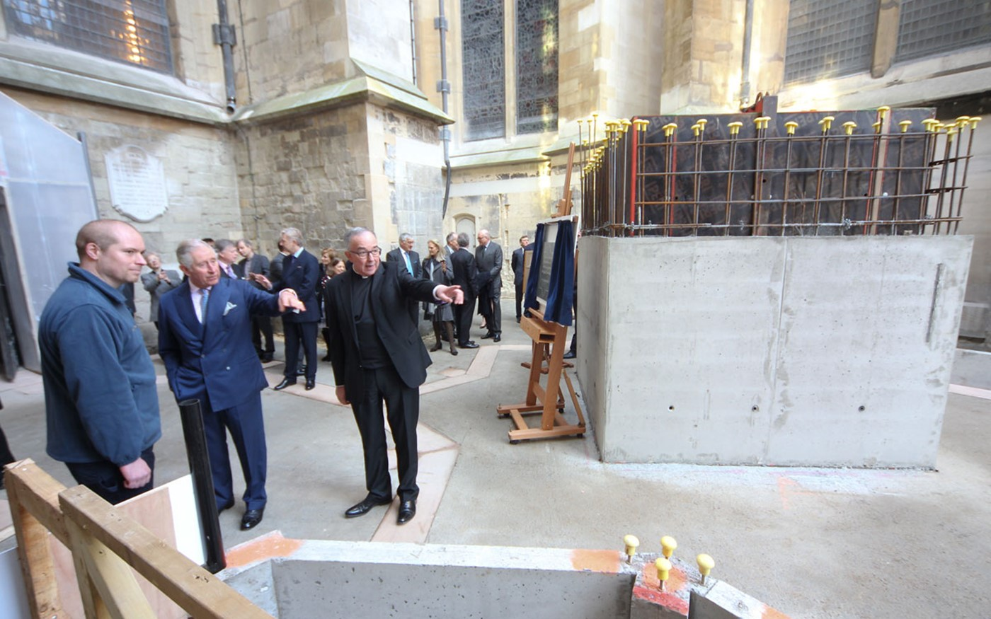 HRH The Prince of Wales views the foundations for the new tower