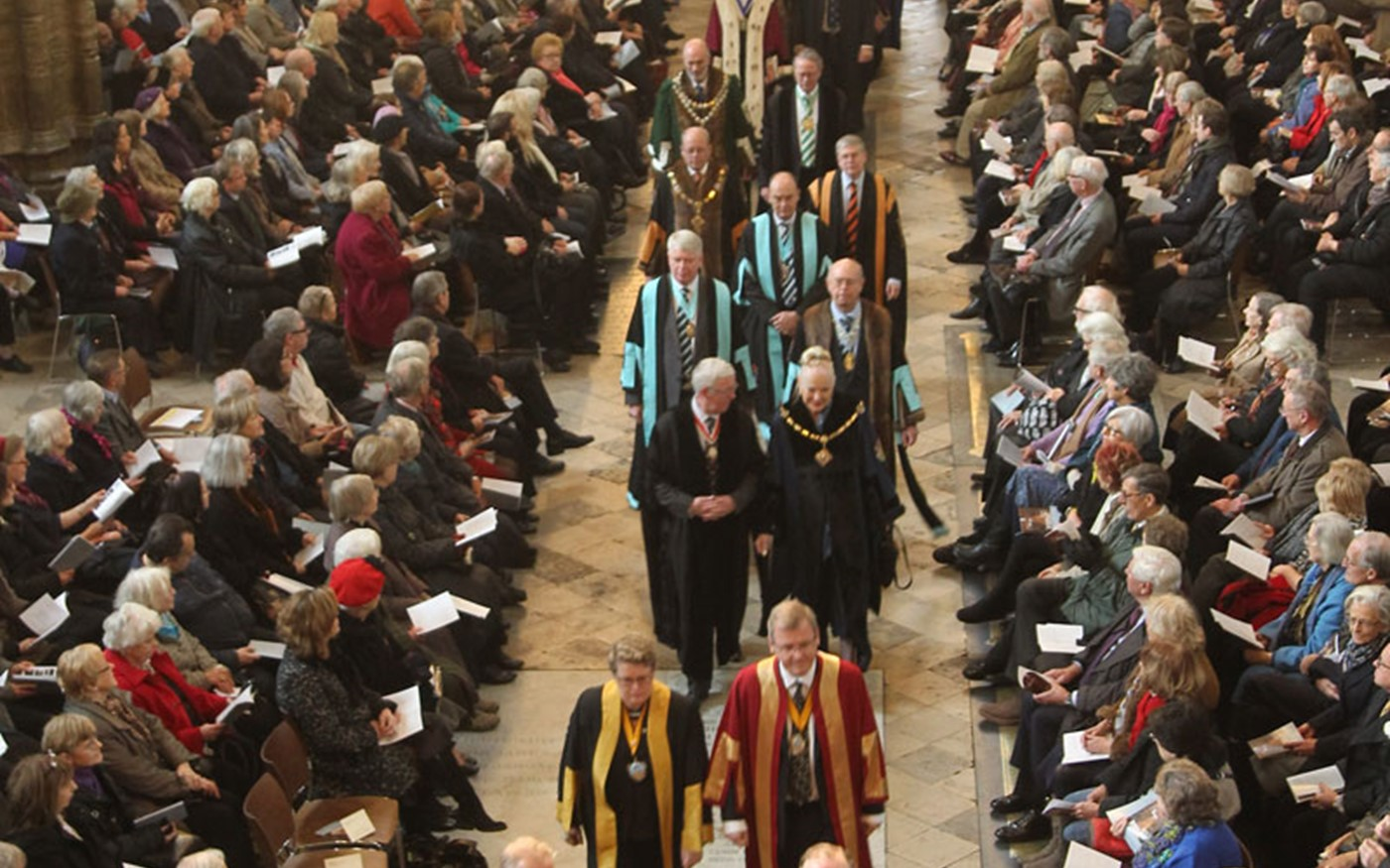 A robed procession by members of the City Livery Companies