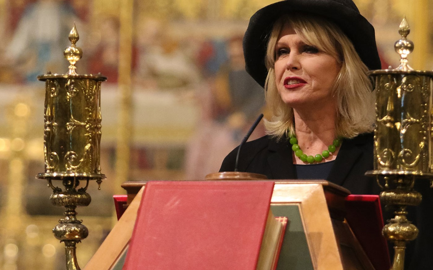 Joanna Lumley OBE reads her poem, For the Former Greatest Living Irishman, written especially for the service with Richard Stilgoe