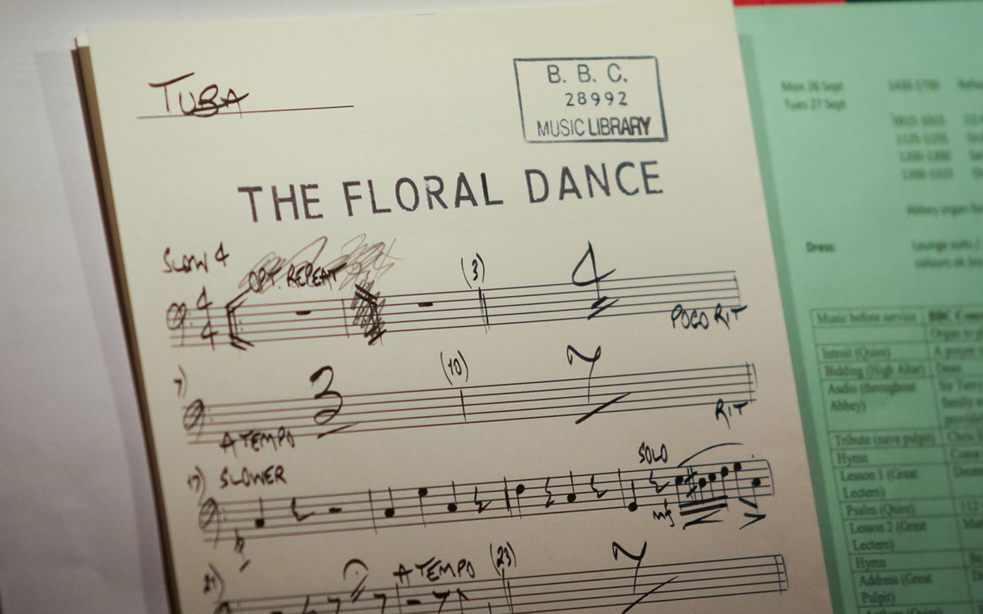 The service ended with The Floral Dance by Katie Moss, recorded by Terry Wogan in 1978