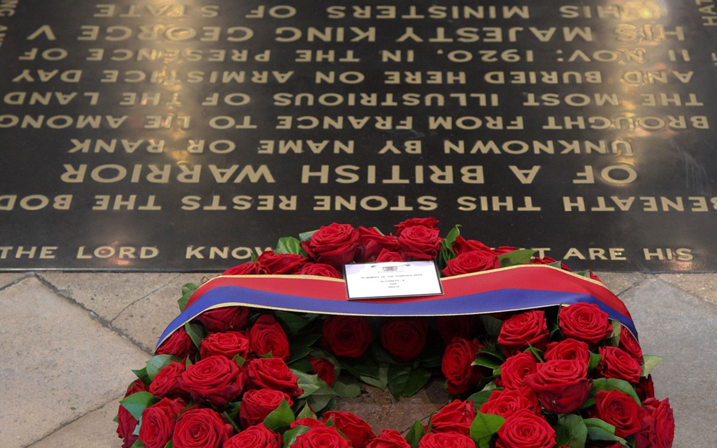 The wreath laid by Her Majesty The Queen at the Grave of the Unknown Warrior