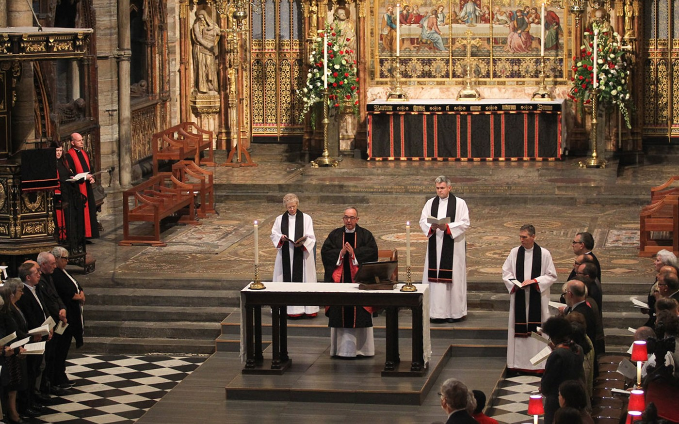 A Requiem was celebrated by the Dean of Westminster, the Very Reverend Dr John Hall, at the Abbey's Lantern Altar
