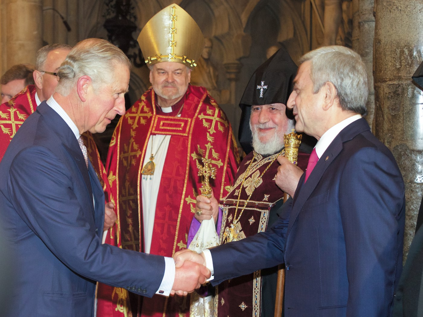 HRH The Prince of Wales, The Bishop of London; His Holiness Karekin II, Supreme Patriarch and Catholicos of All Armenians; and the President of the Republic of Armenia
