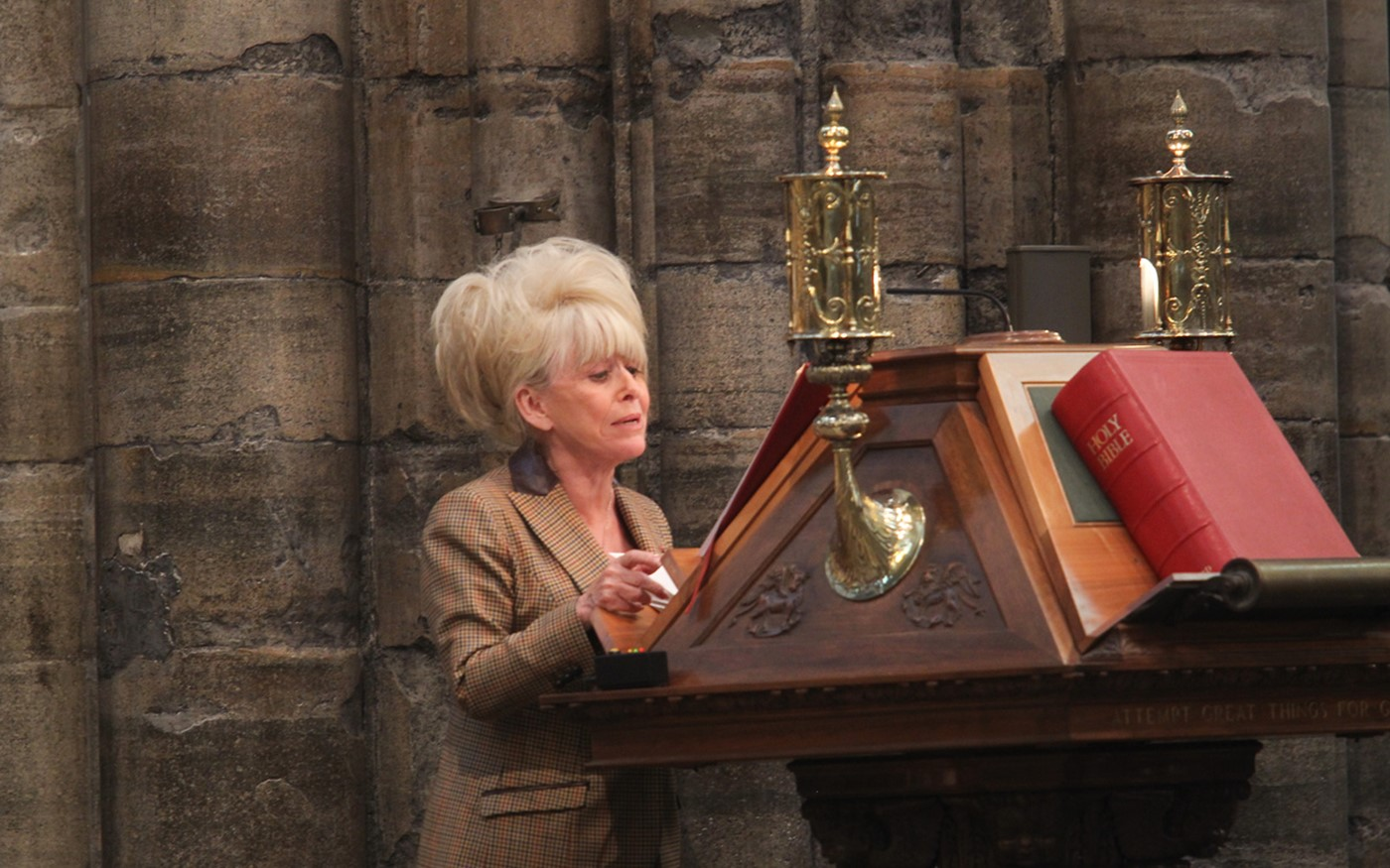 Barbara Windsor MBE, actor, read Romans 8: 31-end