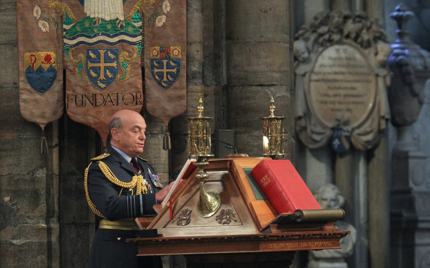 Air Chief Marshal Sir Stuart Peach, Vice Chief of Defence Staff, reads from the Great Lectern