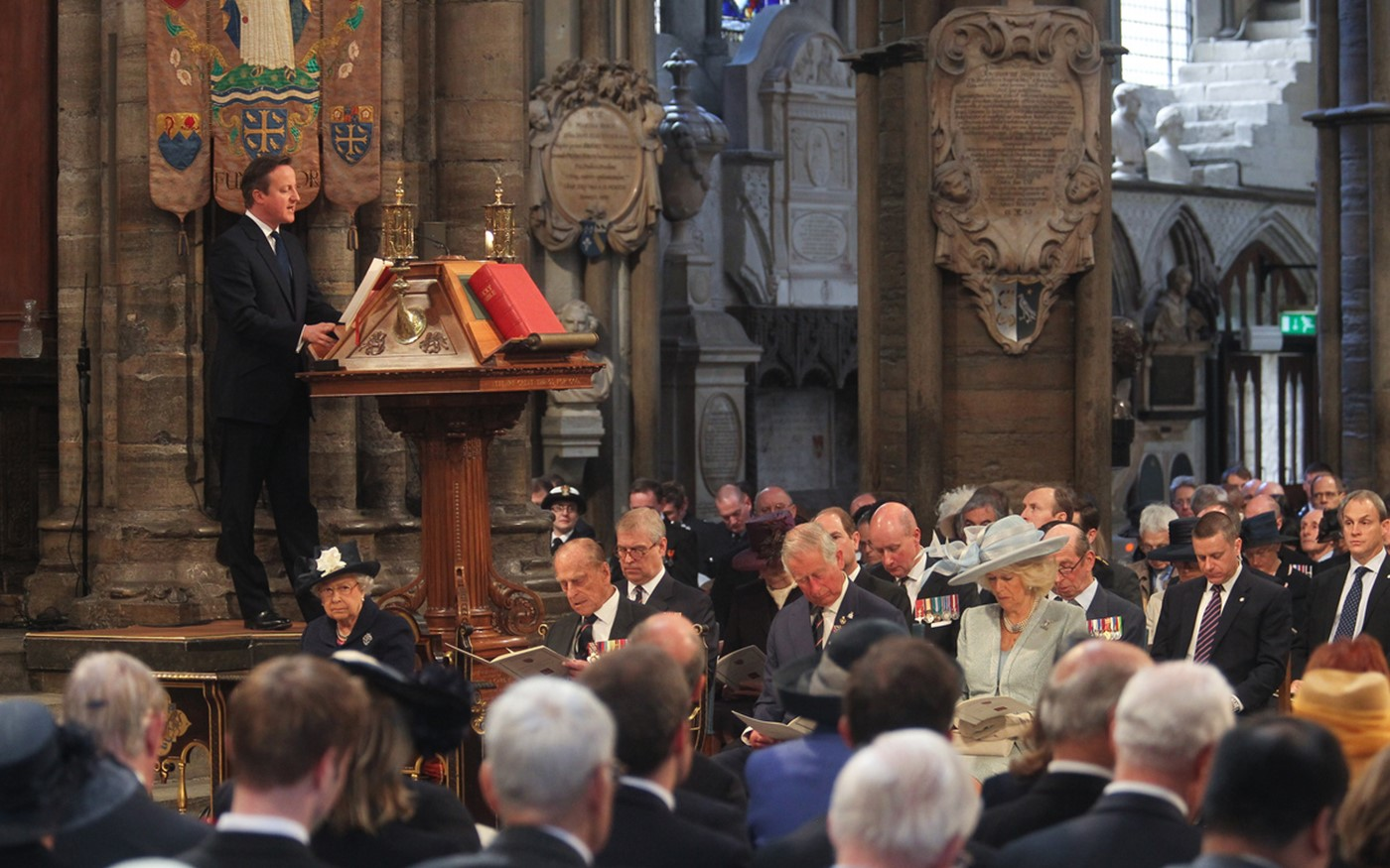 Prime Minister David Cameron reads from the Great Lectern