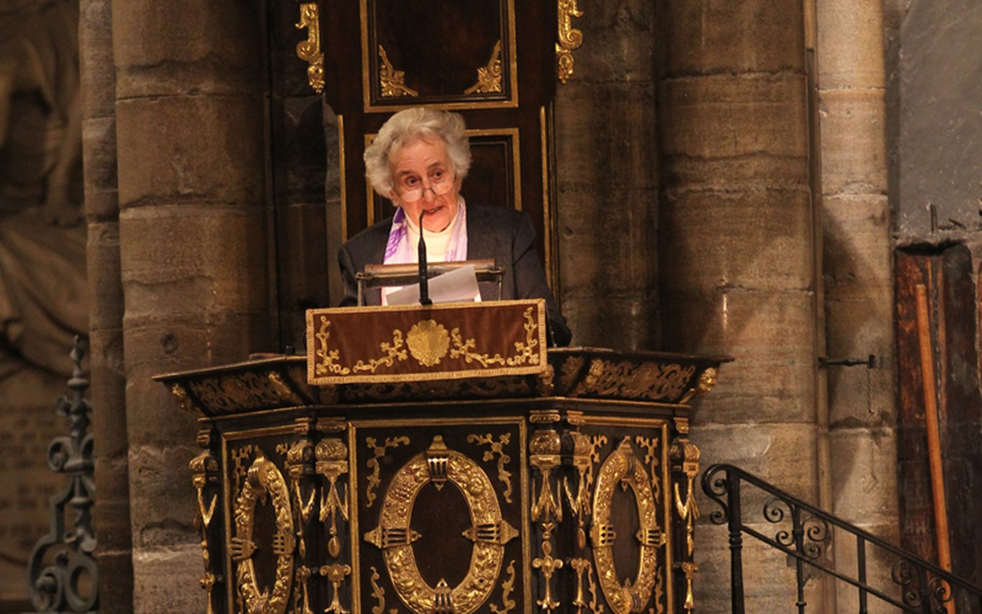 Anita Lasker-Wallfisch, a surviving member of the Women's Orchestra of Auschwitz, gives her testimony from the Great Pulpit