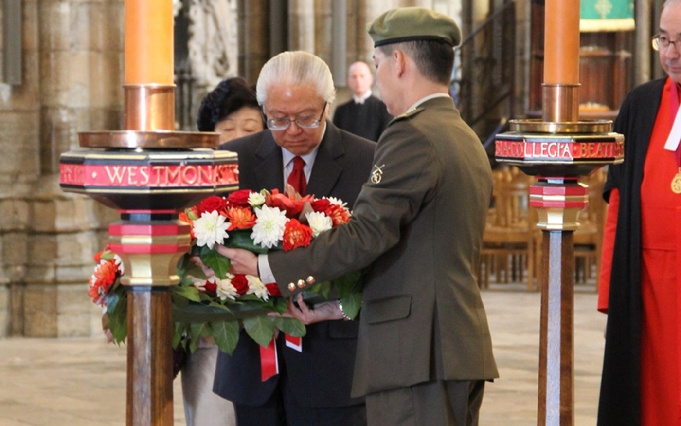 His Excellency Dr Tony Tan Keng Yam, President of the Republic of Singapore lays a wreath at the Grave of the Unknown Warrior