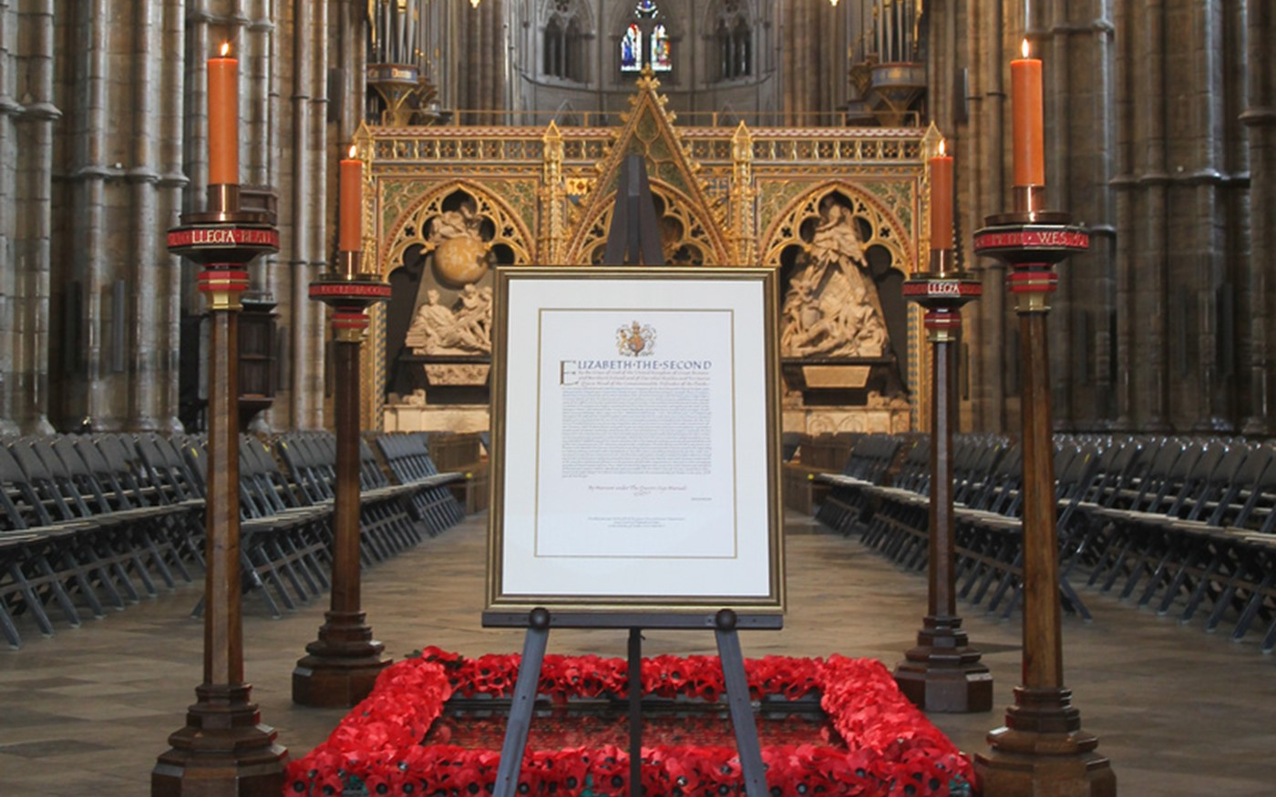 The Royal Charter is displayed in the Abbey