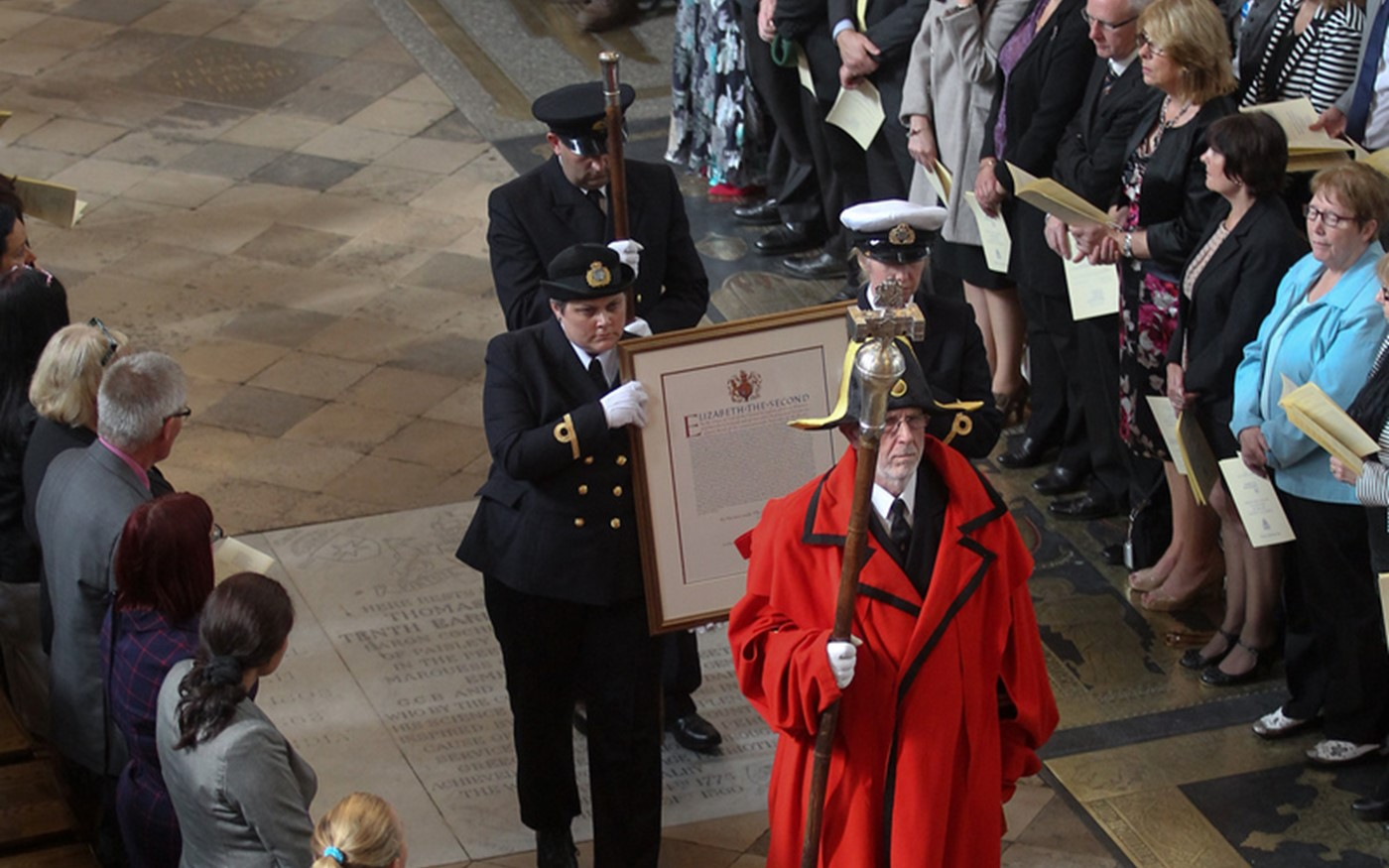 The Royal Charter is borne through the Abbey