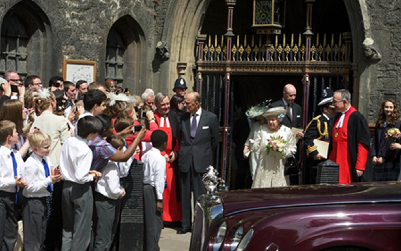 The Abbey community waves The Queen goodbye as she departs
