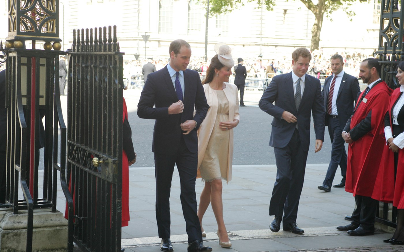 TRH The Duke and Duchess of Cambridge and HRH Prince Henry of Wales arrive at the Abbey