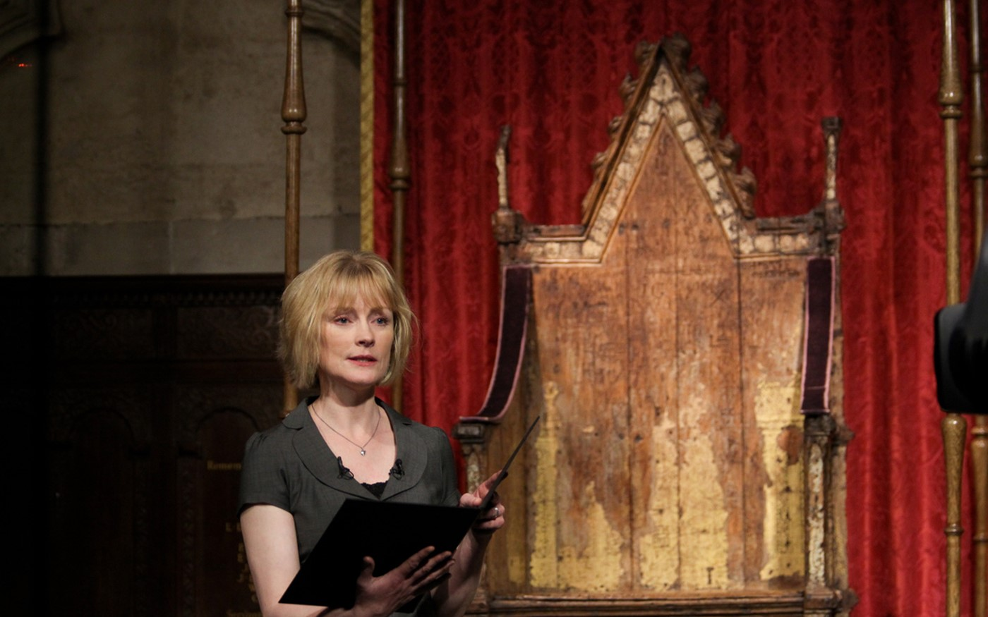 Claire Skinner read The Crown by the Poet Laureate Carol Ann Duffy from St George's Chapel beside the Coronation Chair