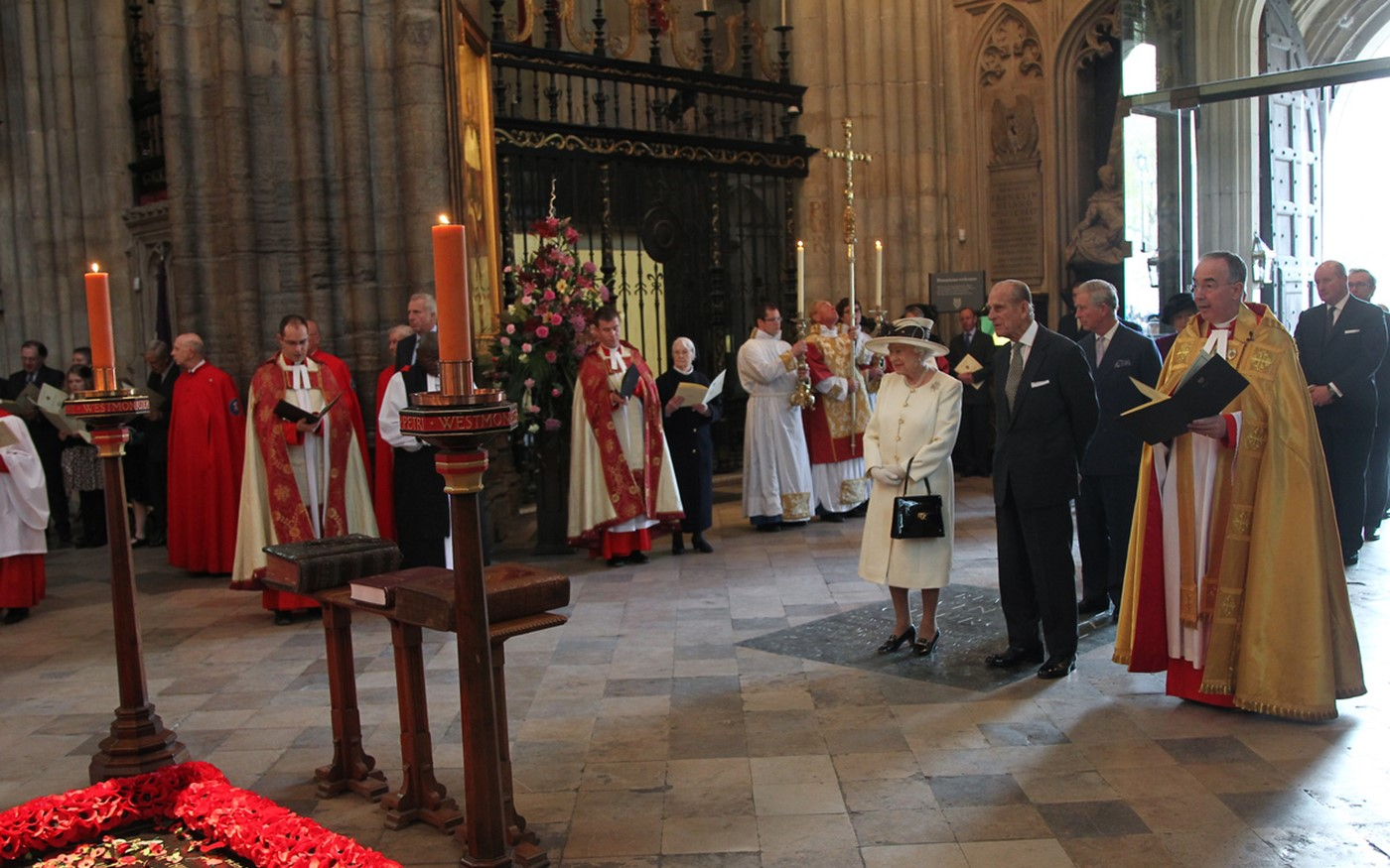 The royal party at the start of the service