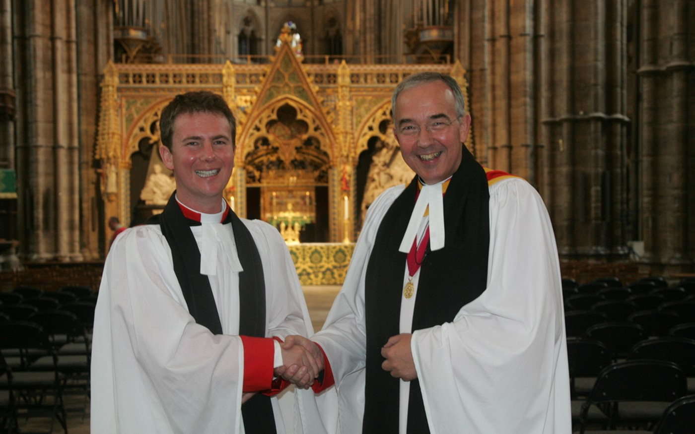 Newly appointed Minor Canon, the Reverend Dr James Hawkey with the The Very Reverend Dr John Hall, Dean of Westminster