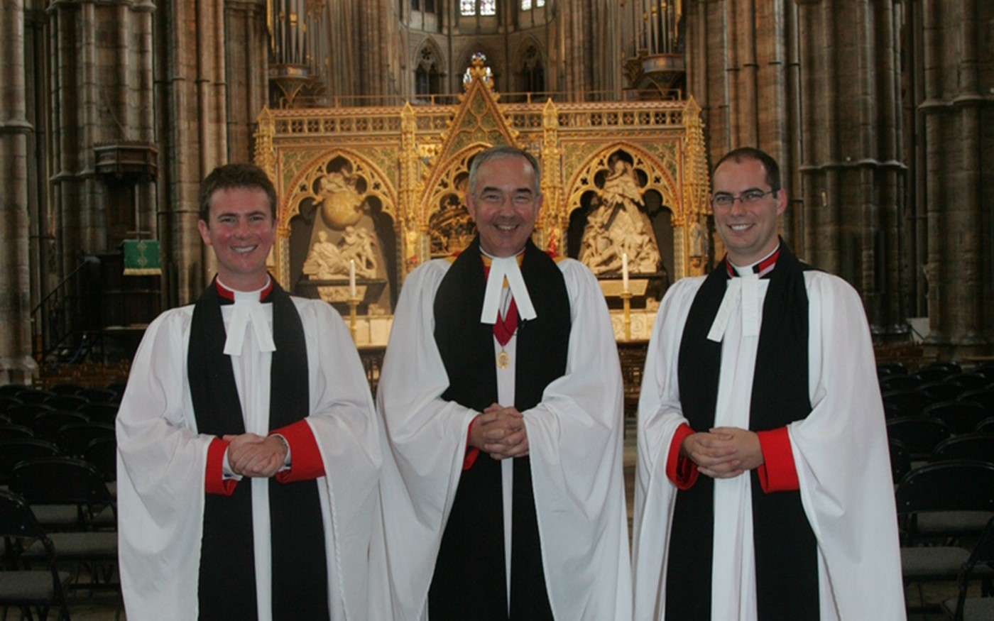 L to R: Newly appointed Minor Canon The Reverend Dr James Hawkey; The Very Reverend Dr John Hall, Dean of Westminster; and The Reverend Michael Macey, Senior Minor Canon of Westminster