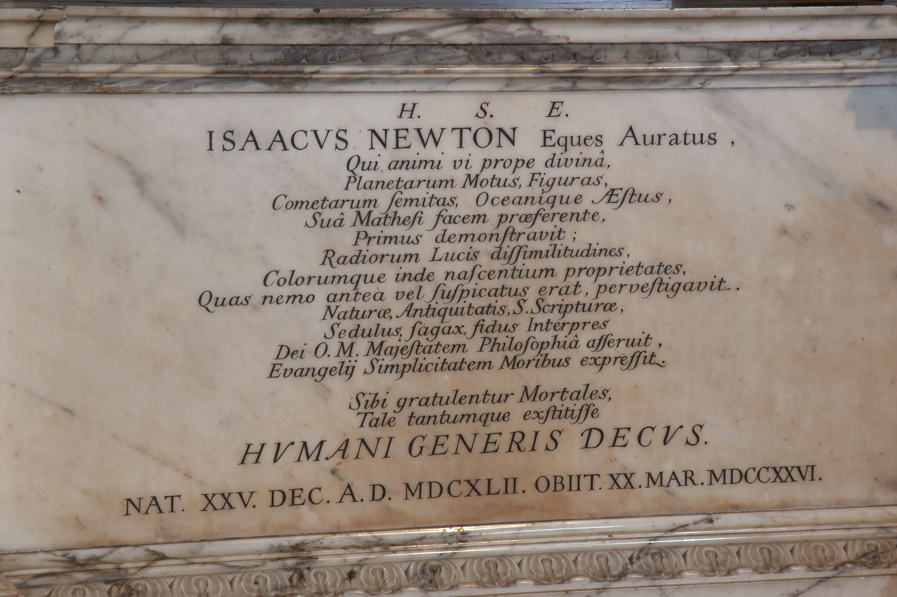 Inscription on Sir Isaac Newton's memorial