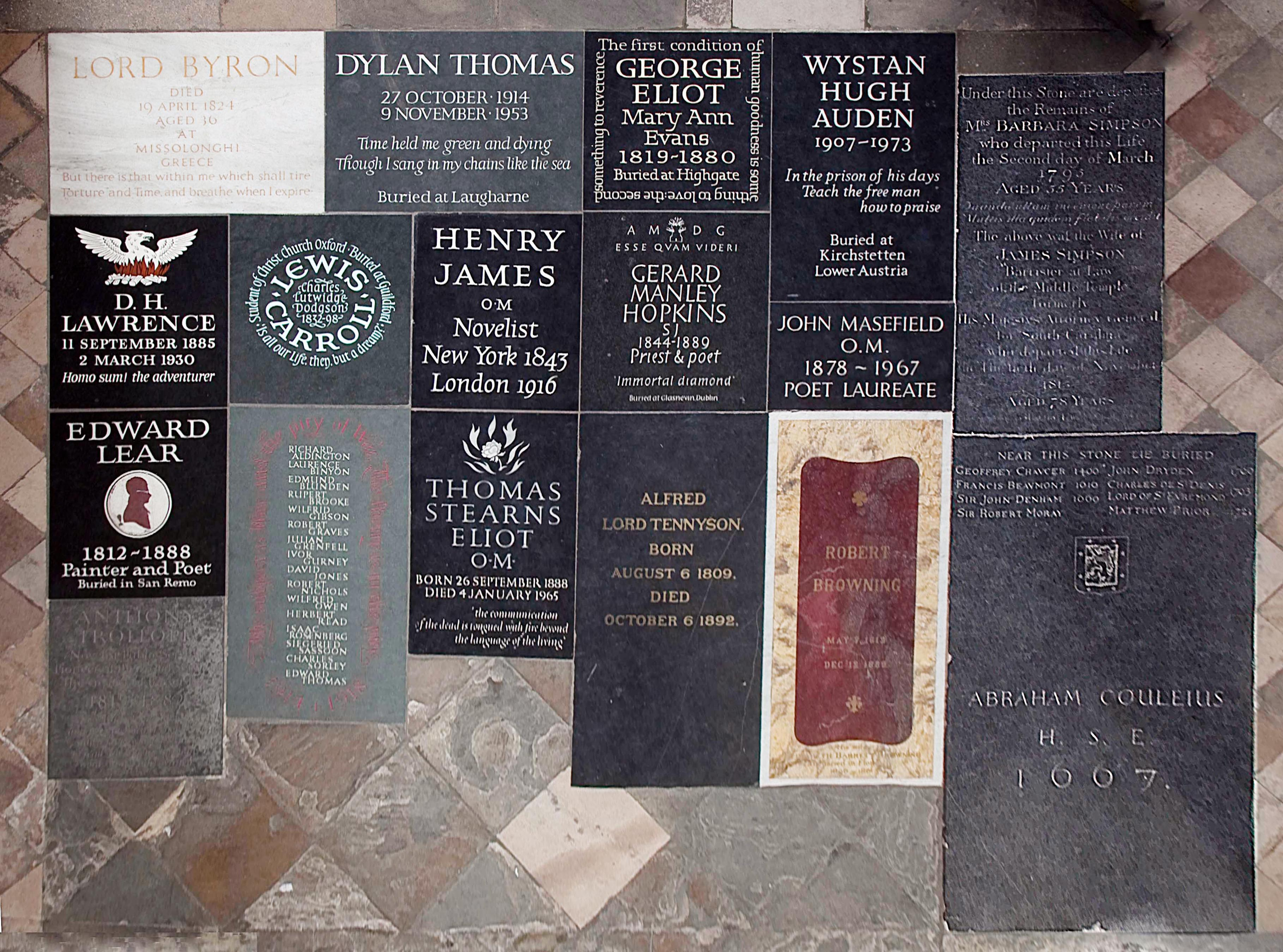 Memorial stones in Poets' Corner from above