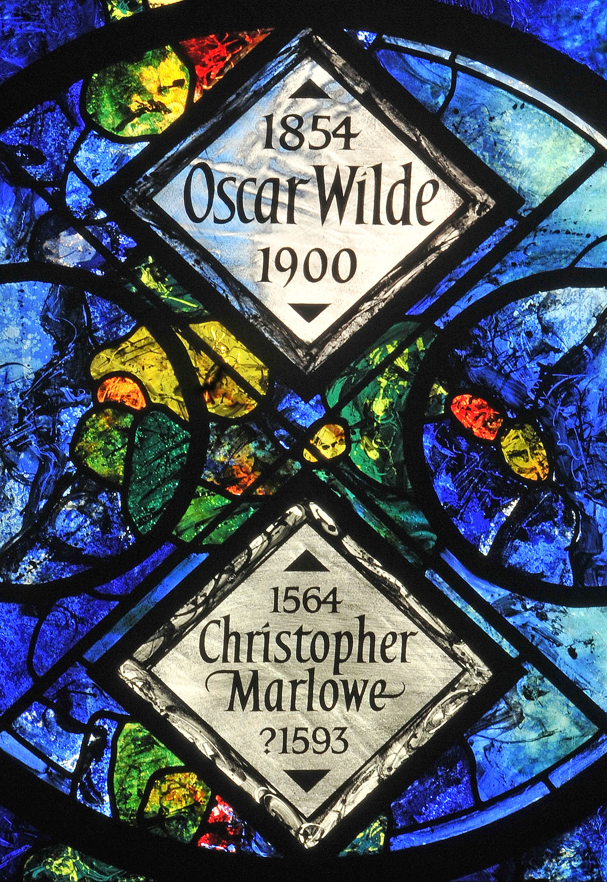 Memorial window to Oscar WIlde and Christopher Marlowe