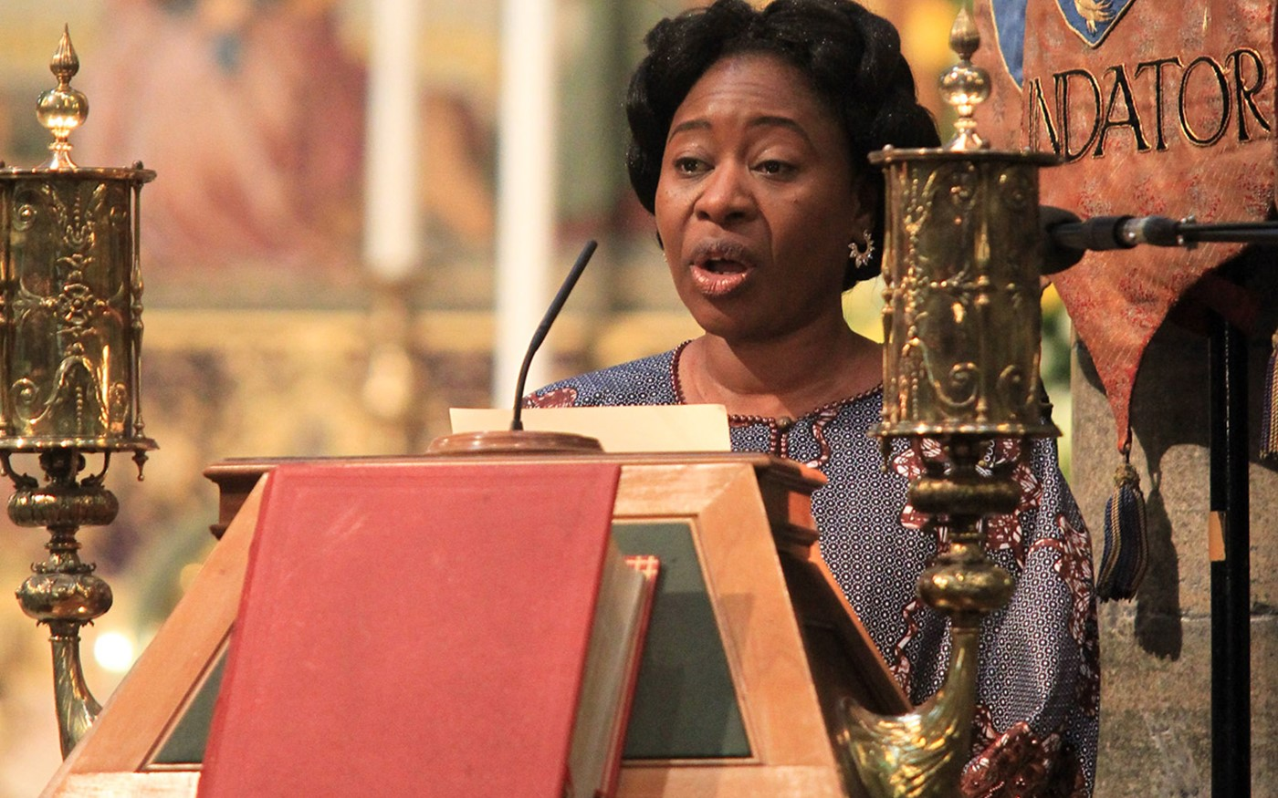 Pastor Modupe Afolabi, National Administrator, Redeemded Christian Church of God UK, reads St Luke 18: 1-8 from the Great Lectern