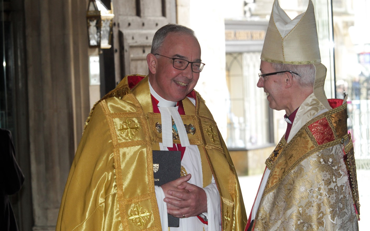 The Very Reverend Dr John Hall, The Dean of Westminster, with The Most Reverend and Right Honourable Justin Welby, Archbishop of Canterbury, Primate of All England and Metropolitan before the service
