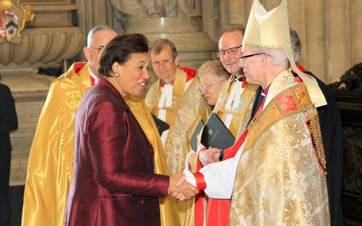 The Right Honourable The Baroness Scotland of Asthal QC, Secretary-General of the Commonwealth, arrives and is greeted by The Most Reverend and Right Honourable Justin Welby, Archbishop of Canterbury, Primate of All England and Metropolitan