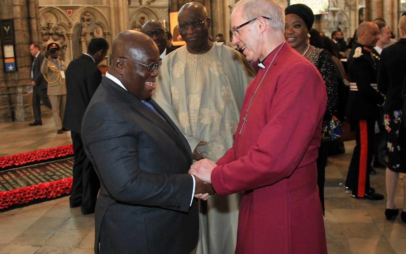 The President of the Republic of Ghana, Nana Akufo-Addo, with The Most Reverend and Right Honourable Justin Welby, Archbishop of Canterbury, Primate of All England and Metropolitan after the service