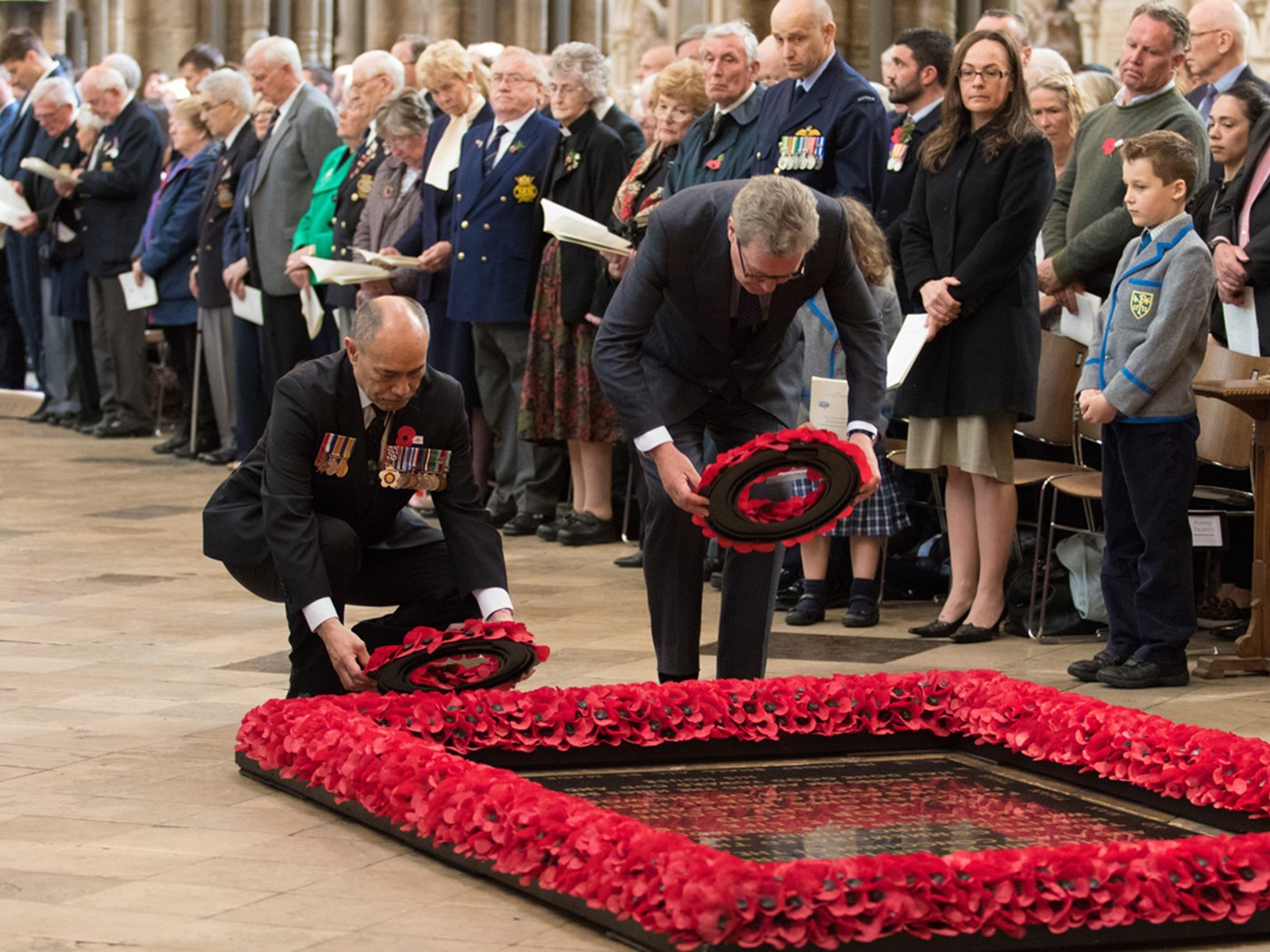 The High Commissioners for New Zealand and Australia lay wreaths at the Grave of the Unknown Warrior