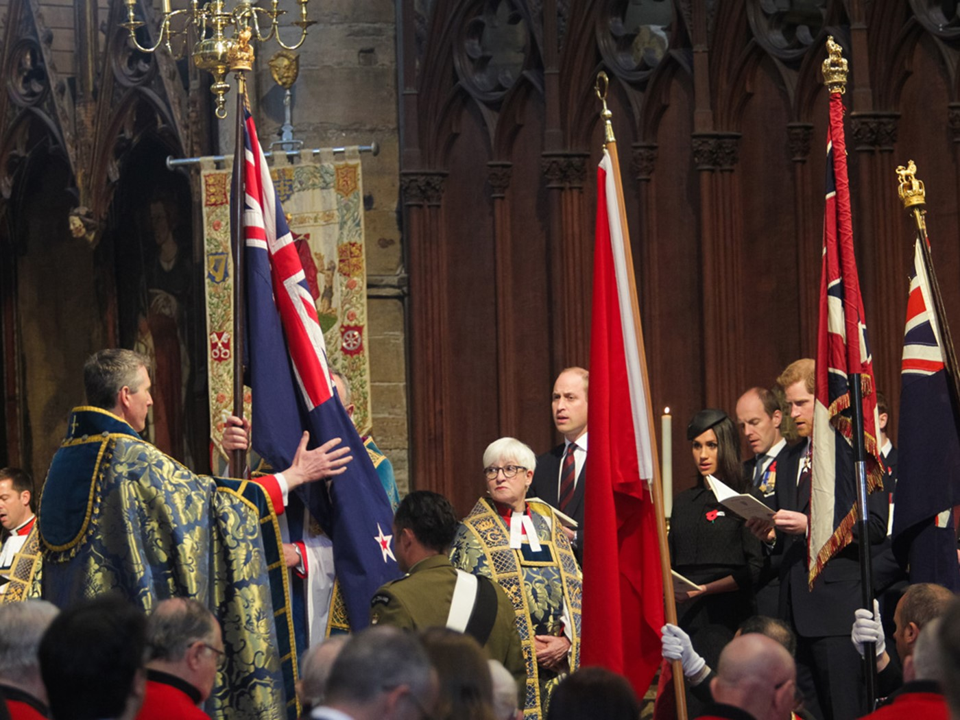 Flags were borne through the Abbey Church and placed in the Sacrarium
