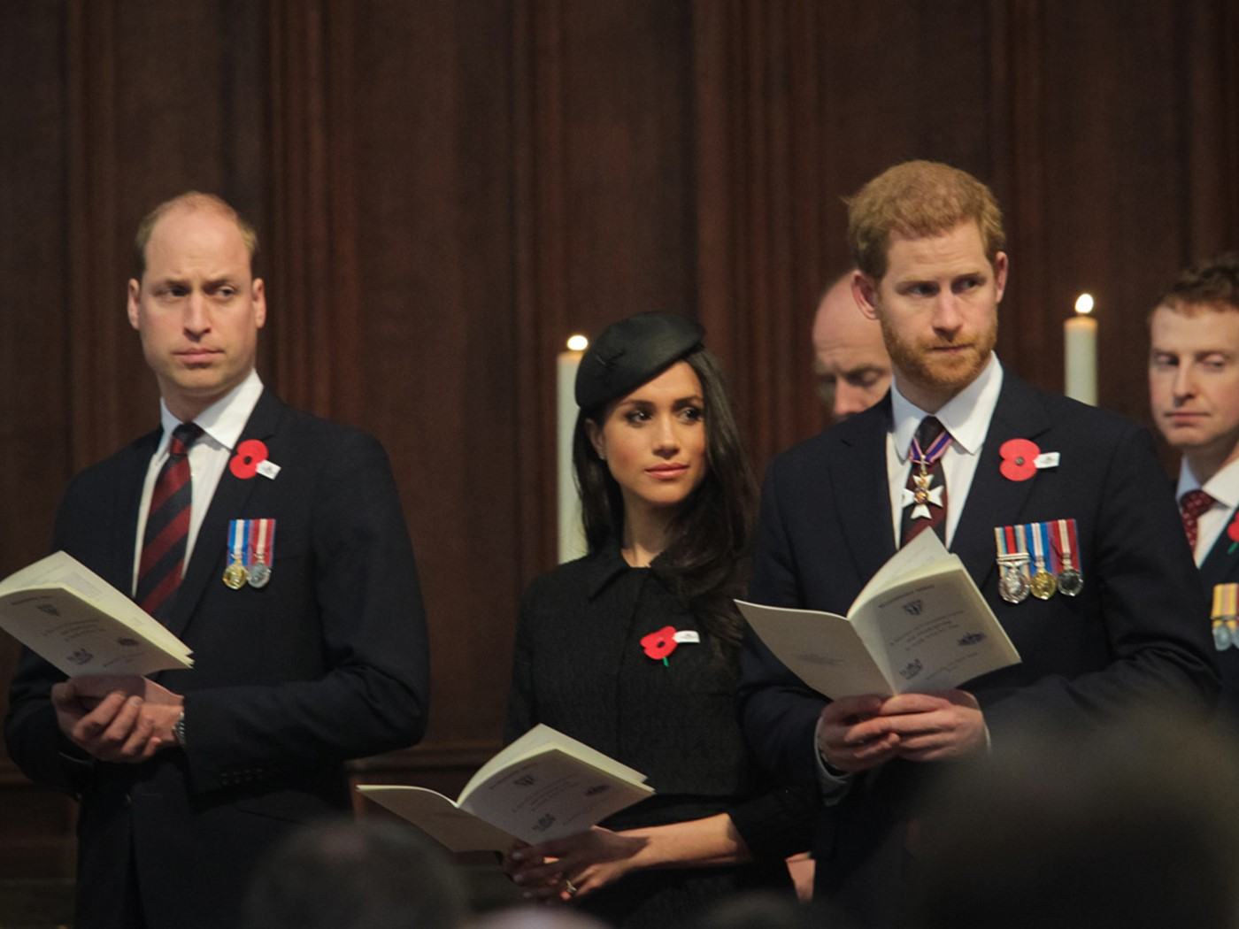 Prince William, Ms Meghan Markle and Prince Harry during the service