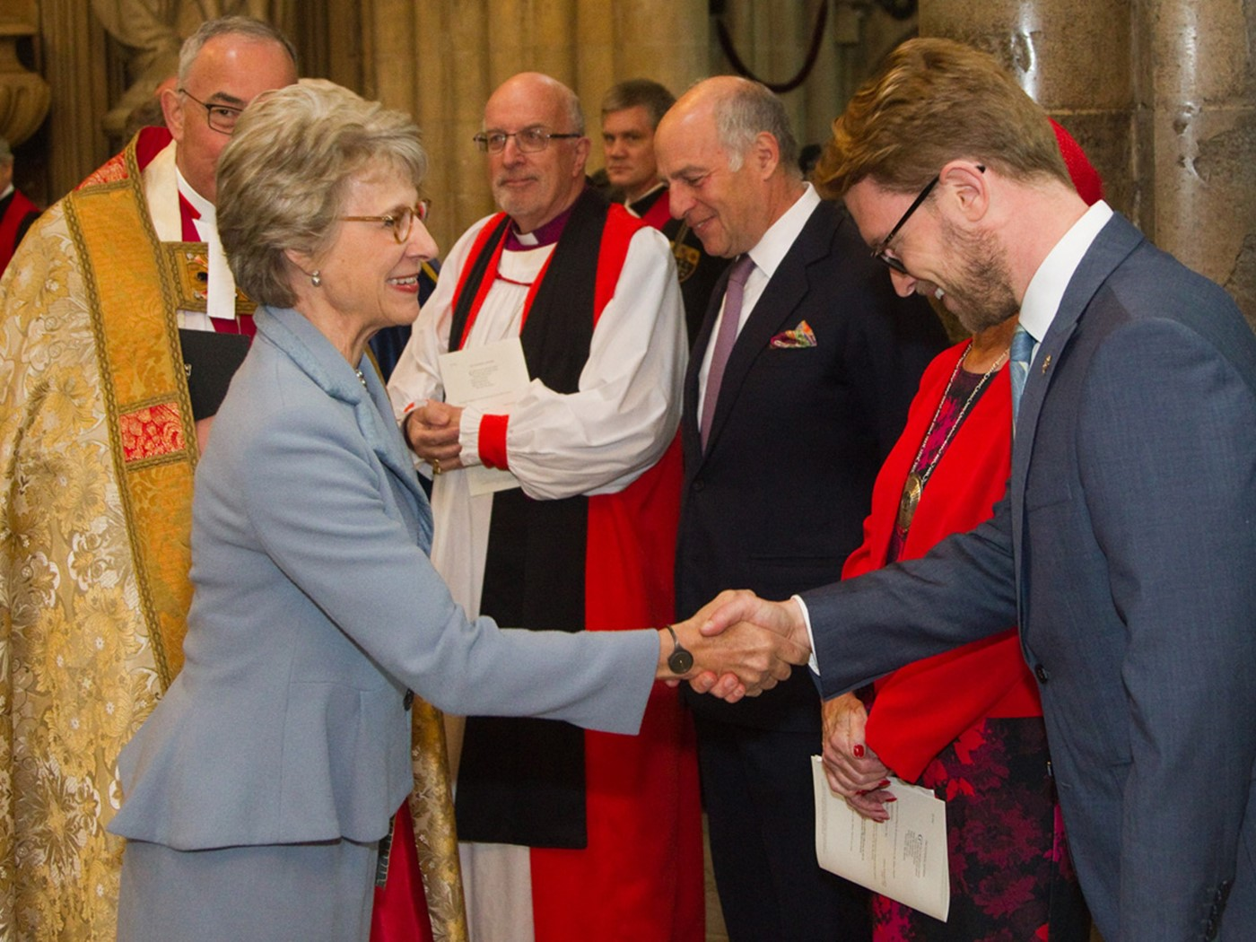 The Duchess of Gloucester greets Florian Schweizer, Chief Executive of the Arts Society