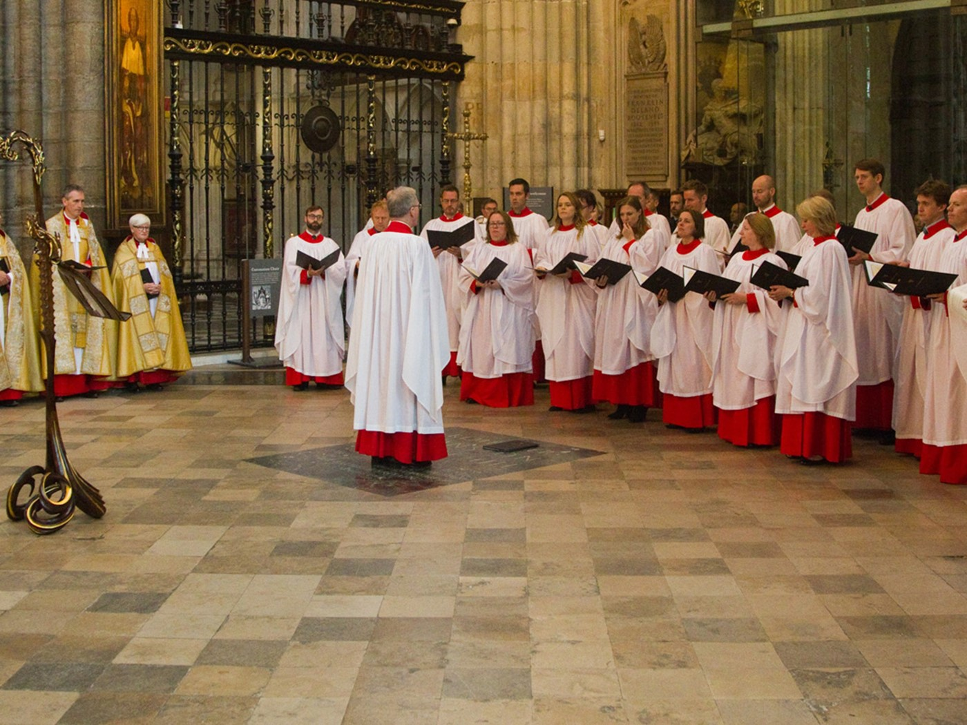 The Westminster Abbey Special Service Choir sing an anthem commissioned for the service by The Arts Society