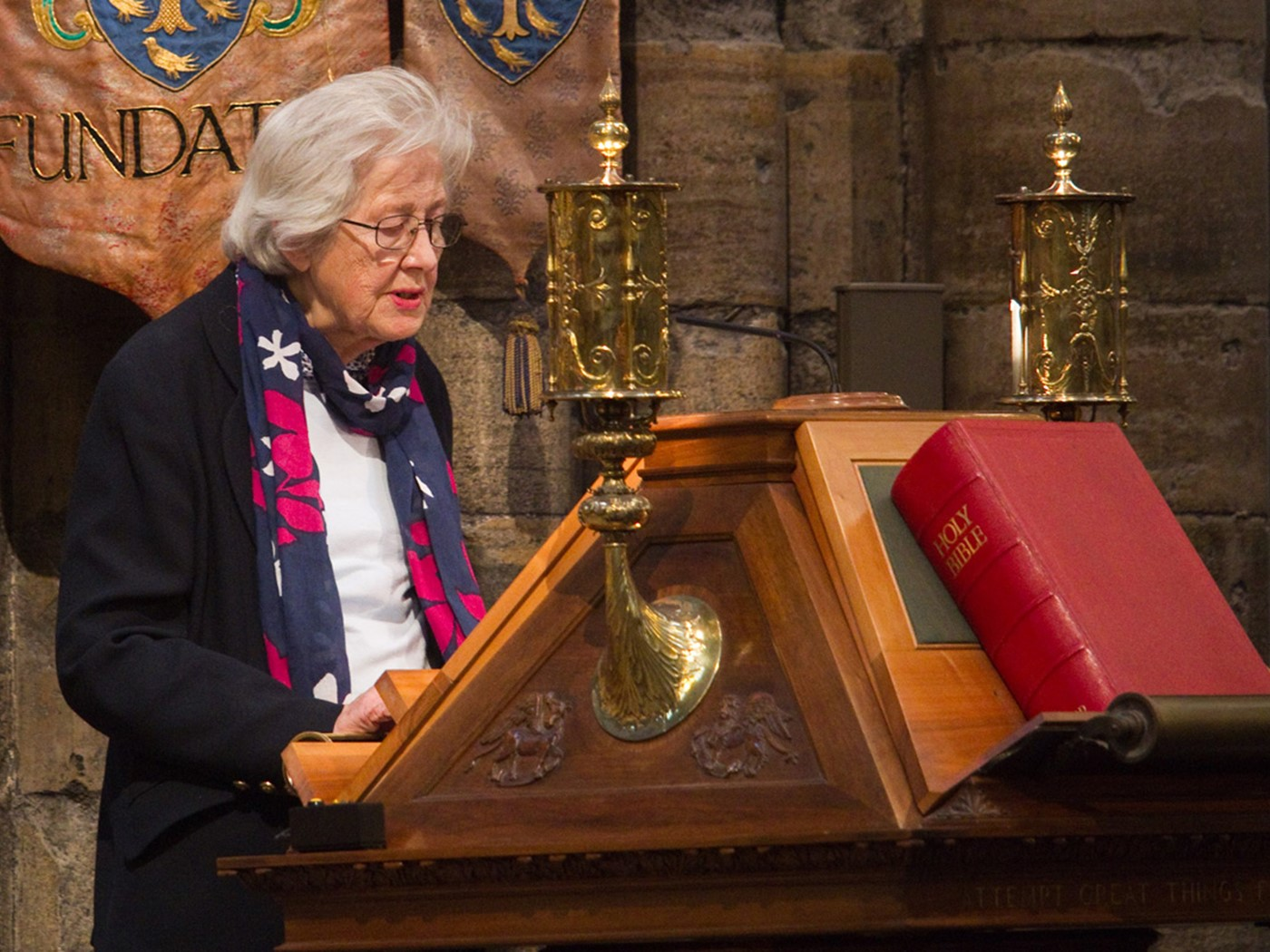 Shelagh Townsend-Rose, Member of Borders Decorative and Fine Arts Society and Volunteer, reads Genesis 1: 24-end