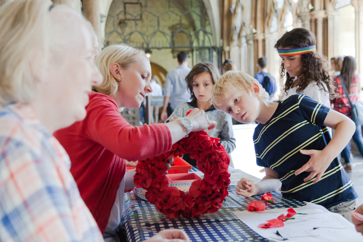 Children also learned how wreaths are created and held together