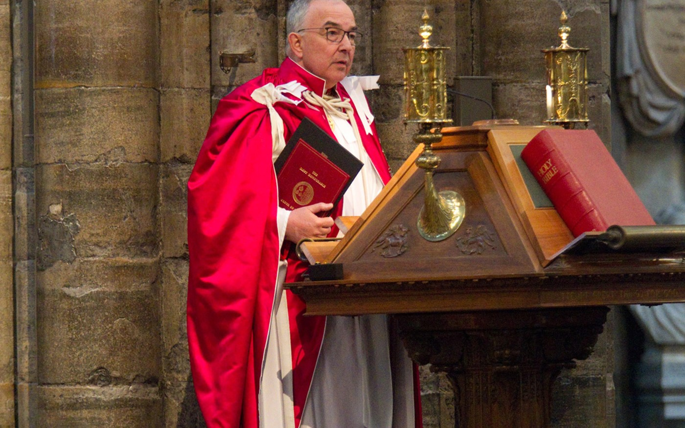 The Dean of the Order, The Very Reverend Dr John Hall, reads The Epistle