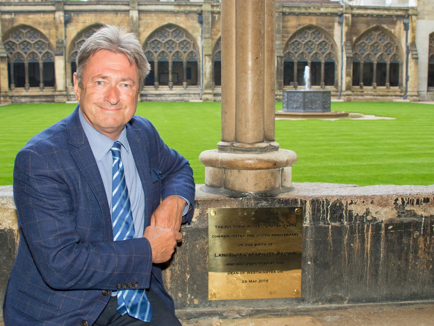 Alan Titchmarsh with the memorial plaque