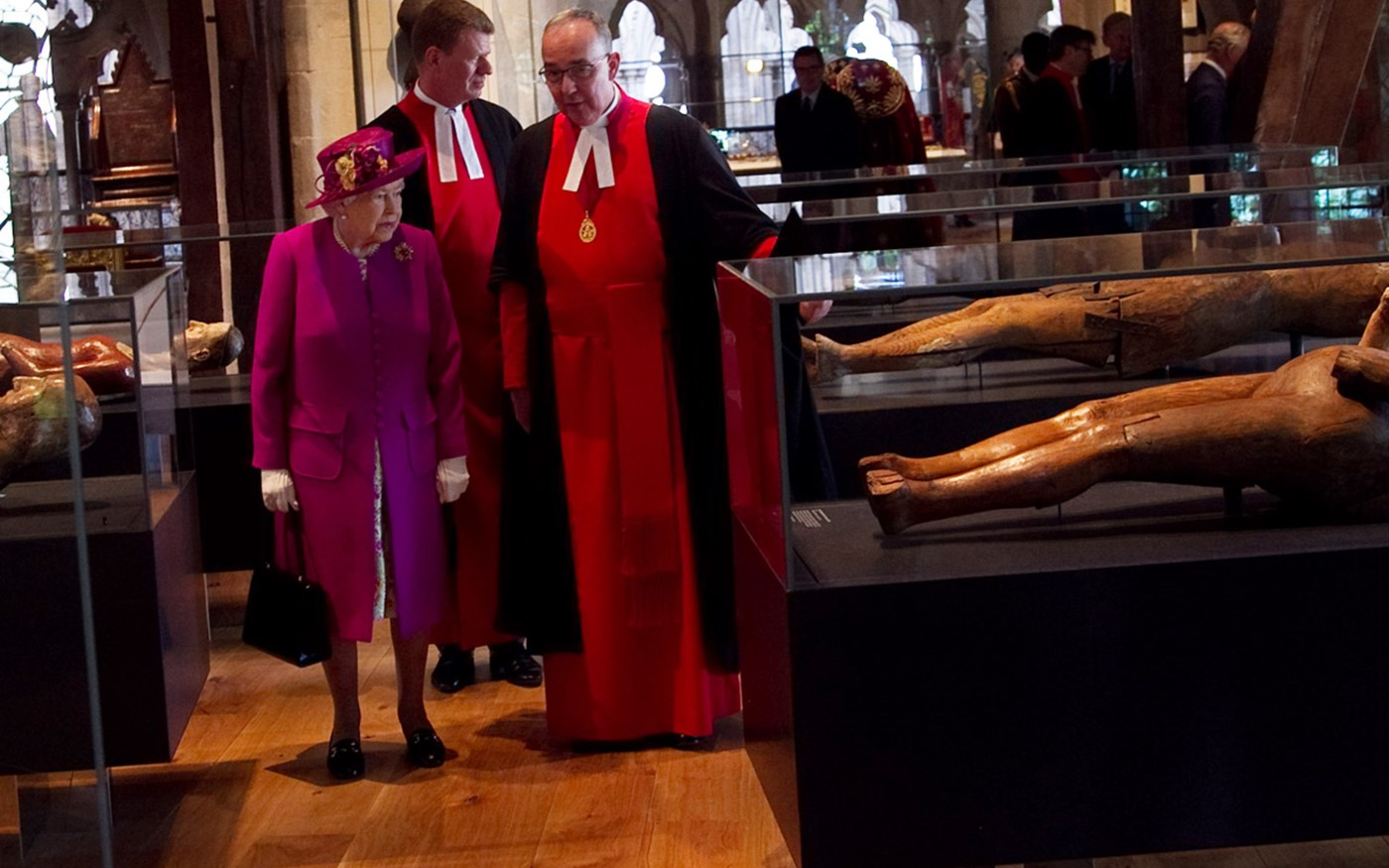The Queen is shown wooden effigies in the Galleries