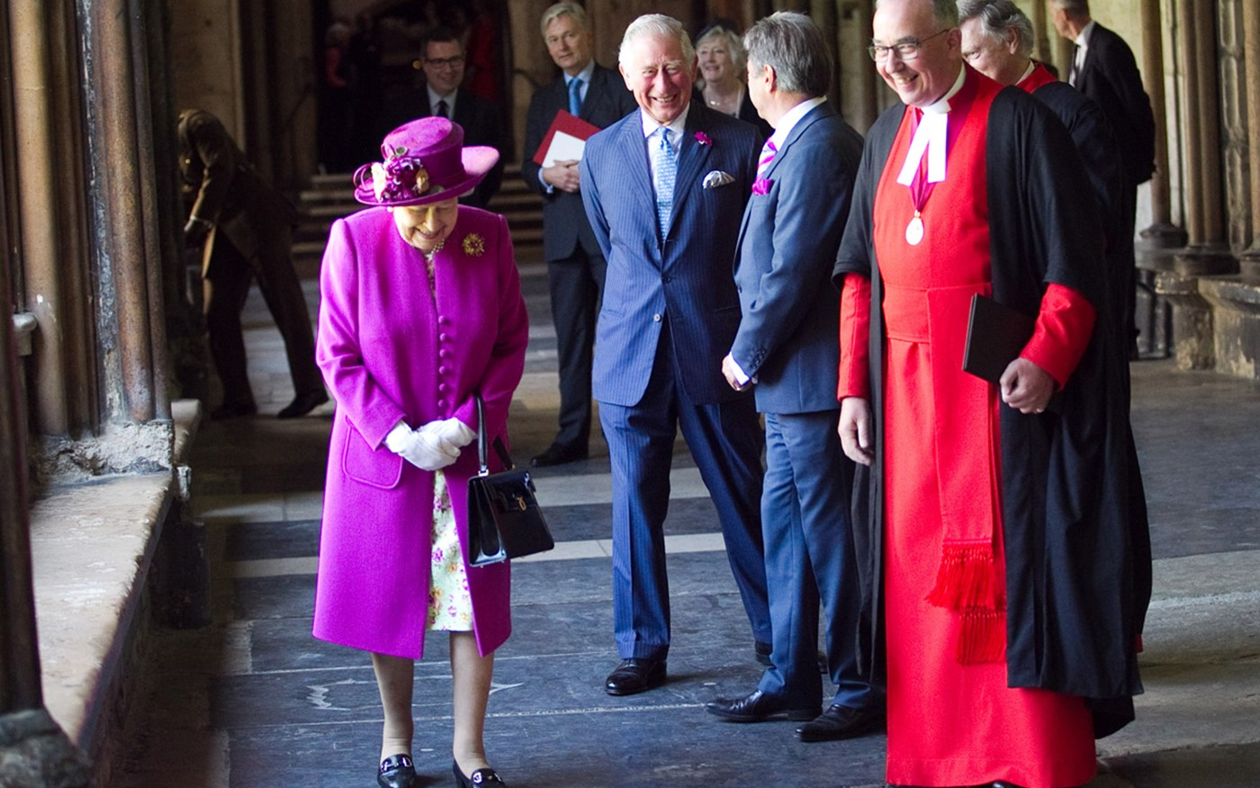 The Queen and Prince Charles meet Alan Titchmarsh, who helped develop a memorial fountain to 'Capability' Brown