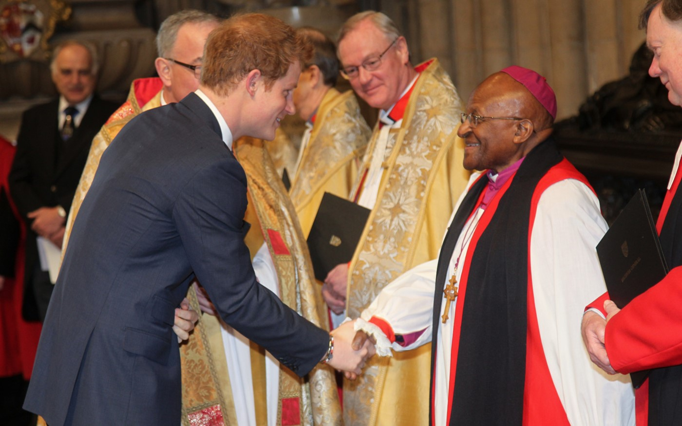 Prince Harry meets Archbishop Emeritus Desmond Tutu after the service