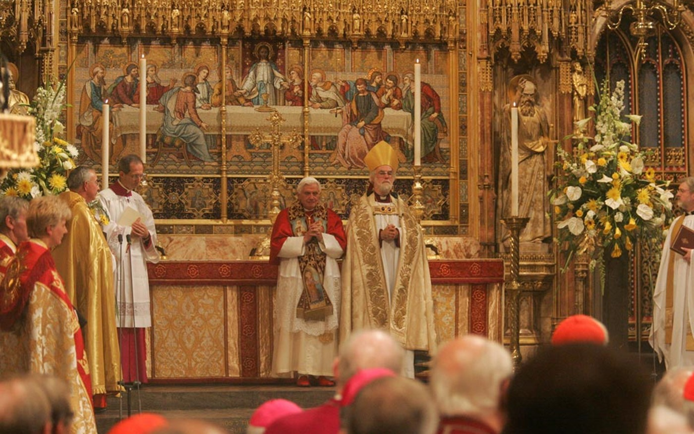 The Archbishop of Canterbury and the Pope pronounce the Blessing together